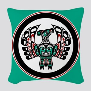 Haida Thunderbird green button Woven Throw Pillow