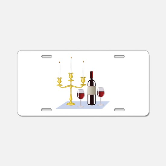 Candles & Wine Aluminum License Plate