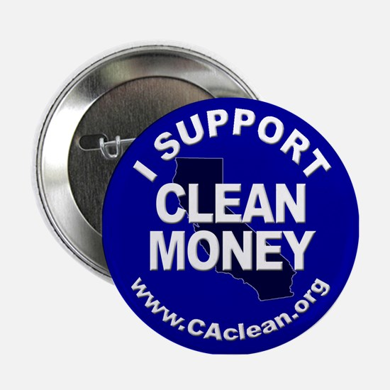"""""""I Support Clean Money"""" Button (Blue)"""