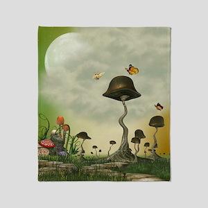 Strange Mushrooms Throw Blanket