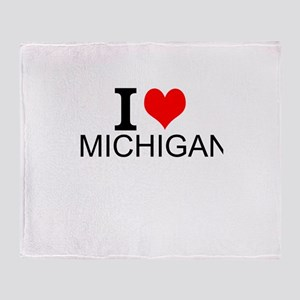 I Love Michigan Throw Blanket
