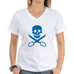 Blue Jolly Cropper Women's V-Neck T-Shirt