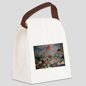 Fish Mosaic Mural Canvas Lunch Bag