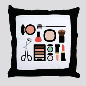 Variety Of Makeup Throw Pillow