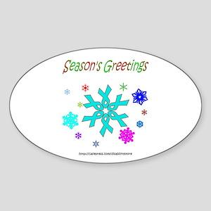 Light Blue Ribbon Snowflake Oval Sticker
