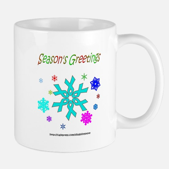 Light Blue Ribbon Snowflake Mug