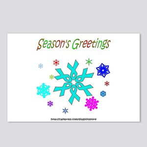 Light Blue Ribbon Snowflake Postcards (Package of