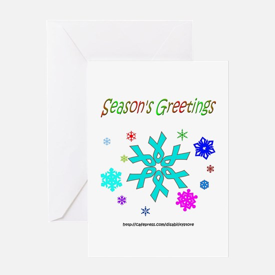 Light Blue Ribbon Snowflake Greeting Card