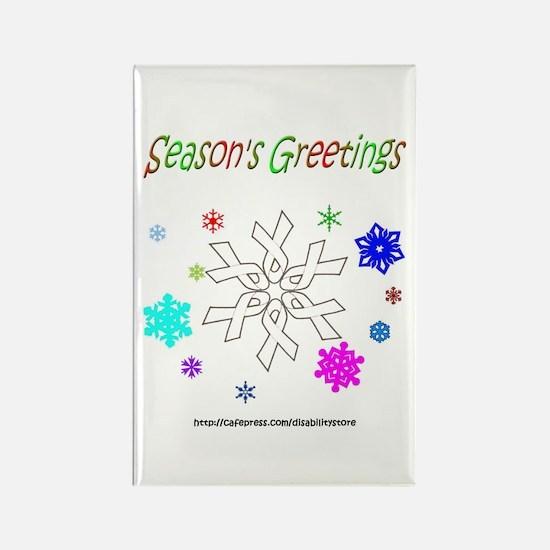 White Ribbon Snowflake Rectangle Magnet