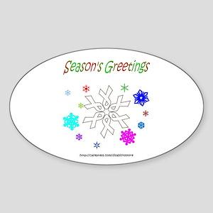 White Ribbon Snowflake Oval Sticker