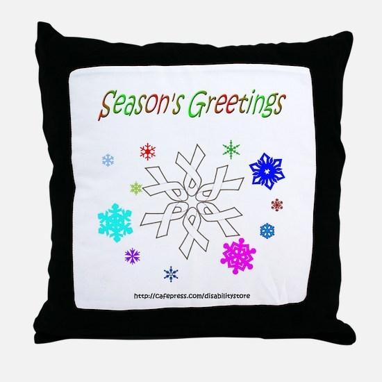 White Ribbon Snowflake Throw Pillow
