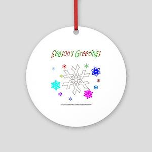 White Ribbon Snowflake Ornament (Round)
