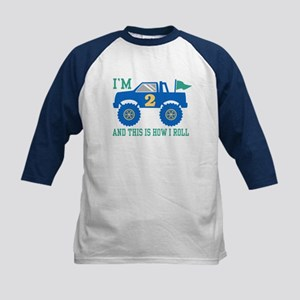 2nd Birthday Monster Truck Kids Baseball Jersey