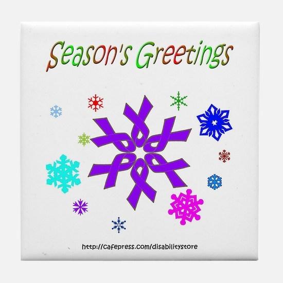 Purple Ribbon Snowflake Tile Coaster