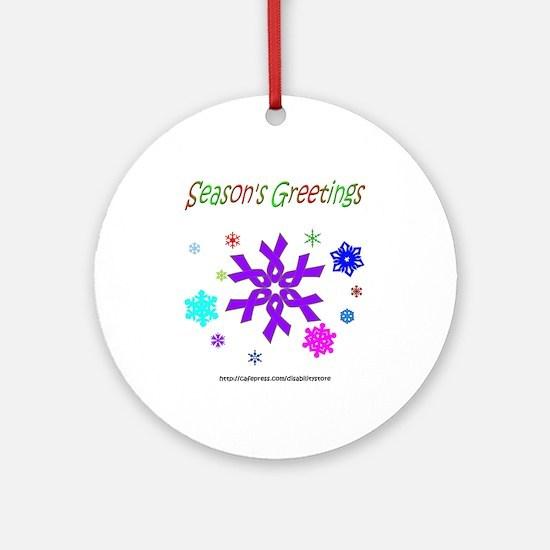 Purple Ribbon Snowflake Ornament (Round)