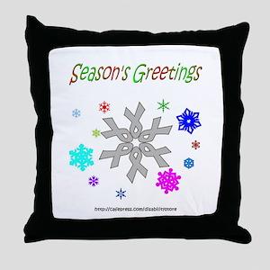 Grey Ribbon Snowflake Throw Pillow
