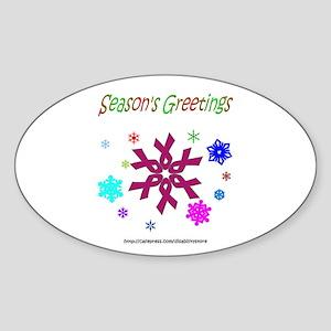 Burgandy Ribbon Snowflake Oval Sticker