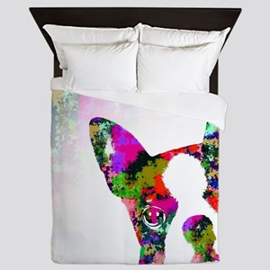 Dog 135 boston terrier Queen Duvet