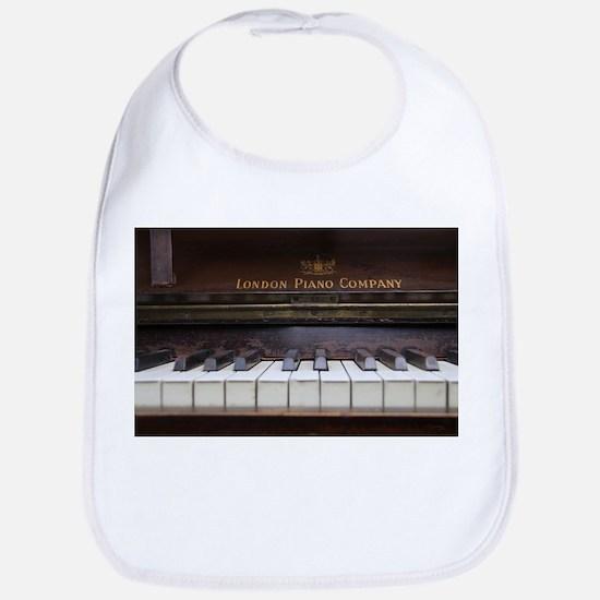 Piano keys on Old antique vintage music instru Bib