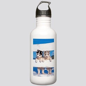 Two Husky puppies Stainless Water Bottle 1.0L