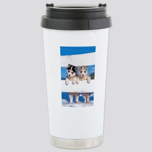 Two Husky puppies Stainless Steel Travel Mug