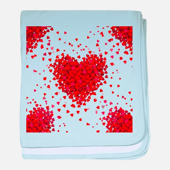 happy valentines day hearts baby blanket