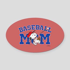 Snoopy Baseball Mom Full Bleed Oval Car Magnet