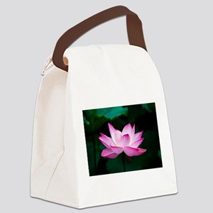 Indian Lotus Flower Canvas Lunch Bag