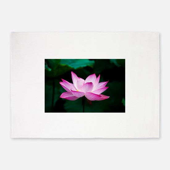 Indian Lotus Flower 5'x7'Area Rug
