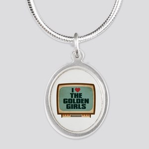 Retro I Heart The Golden Girls Silver Oval Necklac