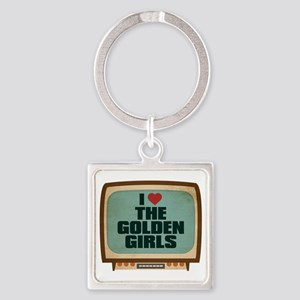 Retro I Heart The Golden Girls Square Keychain