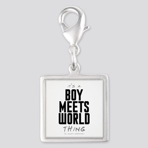 It's a Boy Meets World Thing Silver Square Charm