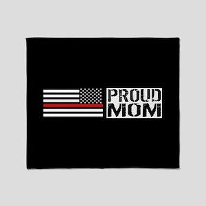 Firefighter: Proud Mom (Black Flag, Throw Blanket