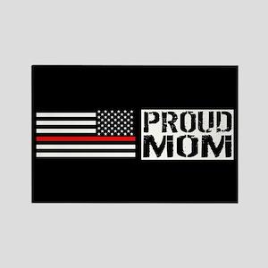 Firefighter: Proud Mom (Black Fla Rectangle Magnet