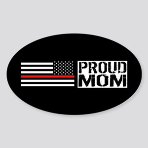 Firefighter: Proud Mom (Black Flag, Sticker (Oval)