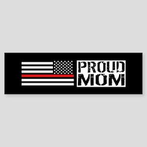 Firefighter: Proud Mom (Black Fla Sticker (Bumper)