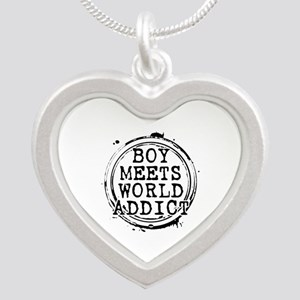 Boy Meets World Addict Stamp Silver Heart Necklace