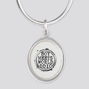 Boy Meets World Addict Stamp Silver Oval Necklace