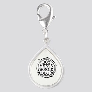 Boy Meets World Addict Stamp Silver Teardrop Charm