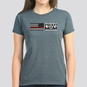 Firefighter: Proud Mom (Black Women's Dark T-Shirt