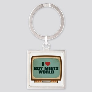 Retro I Heart Boy Meets World Square Keychain