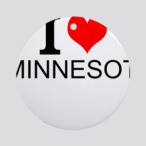 I Love Minnesota Round Ornament