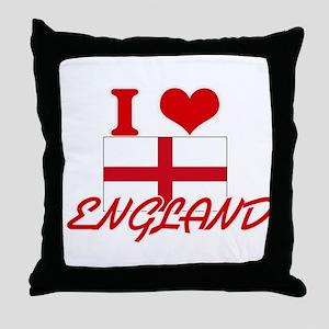 I Love England Throw Pillow