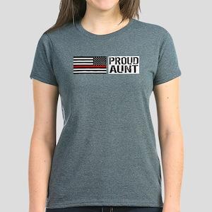 Firefighter: Proud Aunt (Blac Women's Dark T-Shirt