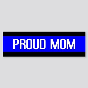 Police: Proud Mom (Thin Blue Line Sticker (Bumper)