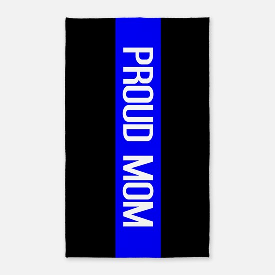 Police: Proud Mom (Thin Blue Line) Area Rug