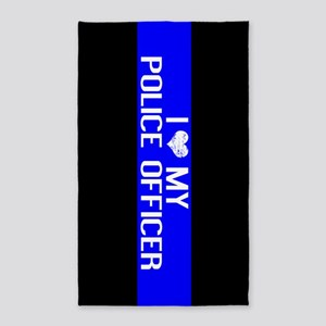 Police: I Love My Police Officer (Thin Bl Area Rug