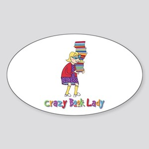 Crazy Book Lady Oval Sticker