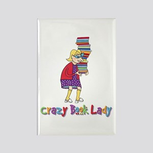 Crazy Book Lady Rectangle Magnet