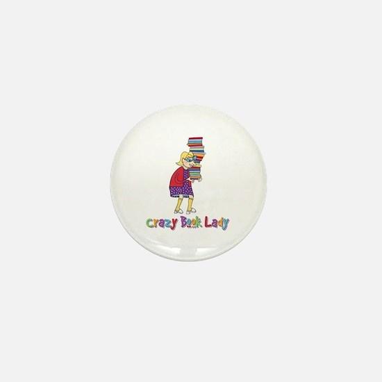 Crazy Book Lady Mini Button